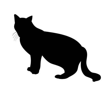 isolated black silhouette cat Illusztráció
