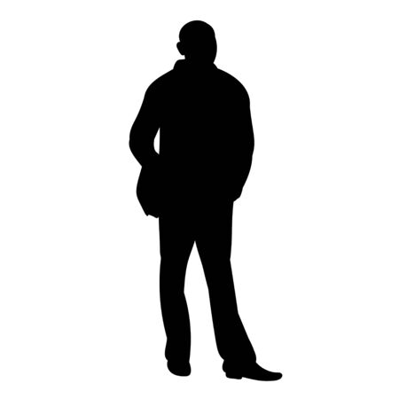 vector, isolated silhouette man standing alone Vectores