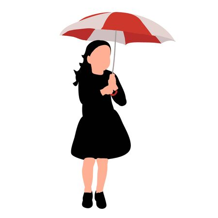 vector, on a white background, silhouette of a child with a red umbrella
