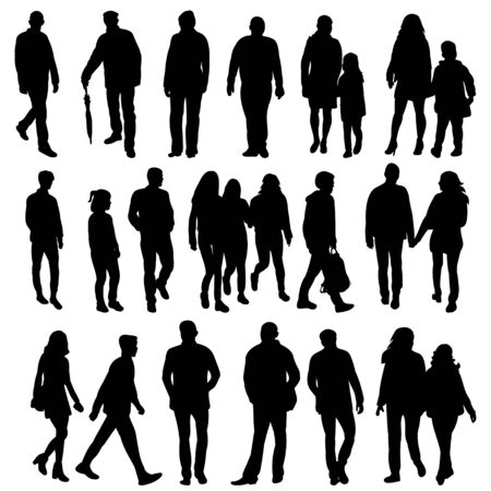 isolated collection of silhouettes of walking people