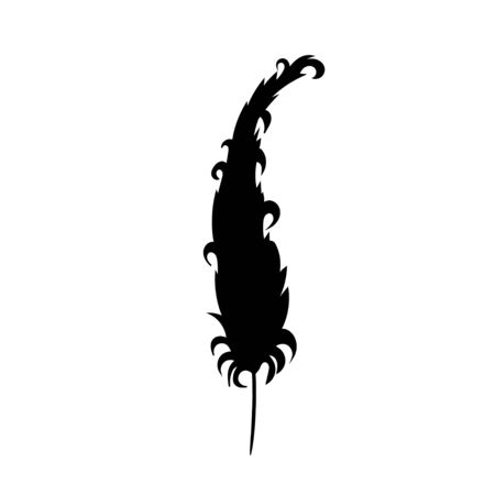 black silhouette of bird feathers, one