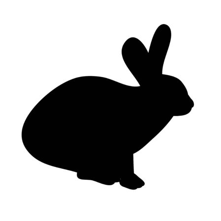 isolated silhouette of a rabbit on a white background