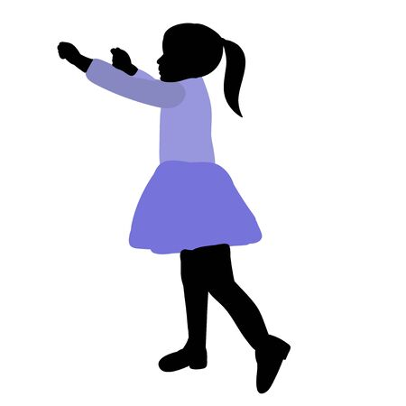 vector, on a white background, silhouette in colored clothes child rejoices Illustration
