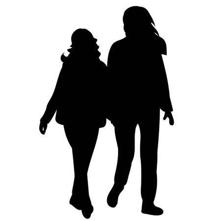 vector, isolated black silhouette people go