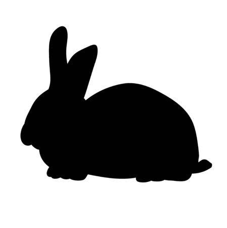 vector, isolated silhouette of a rabbit alone Vettoriali