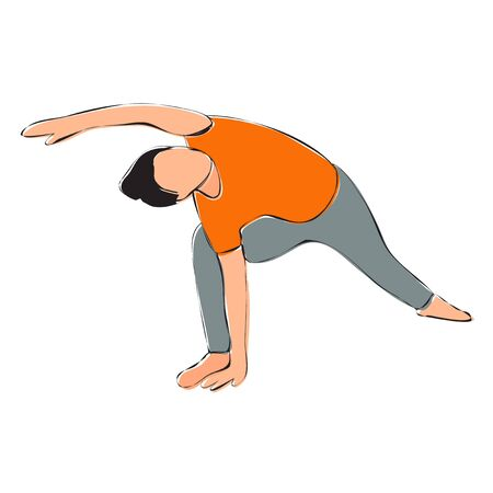 white background, girl doing yoga, contour 向量圖像