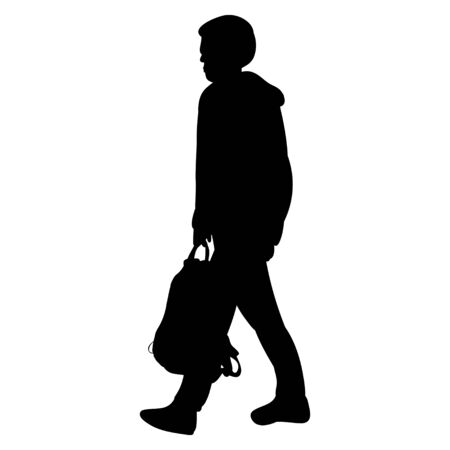 silhouette of a boy with a backpack