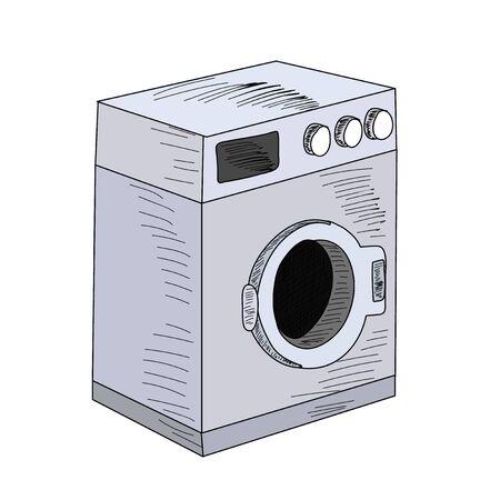 washing machine illustration on white background