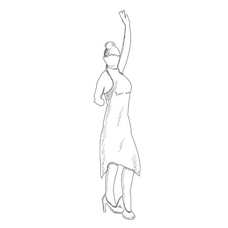 sketch of a girl dancing 向量圖像