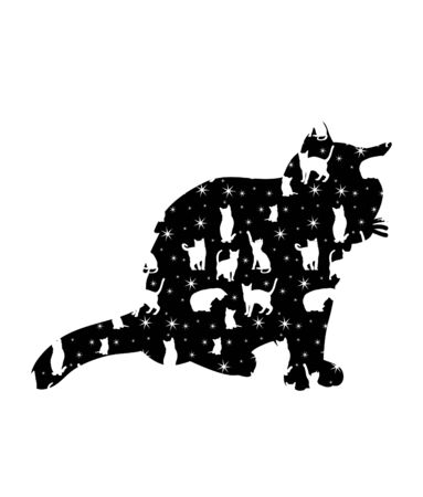isolated silhouette of a cat