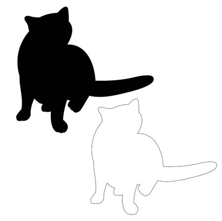 vector, isolated silhouette cat