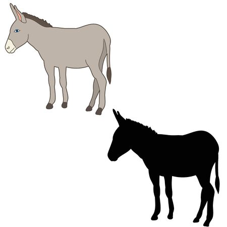 silhouette of a donkey on a white background