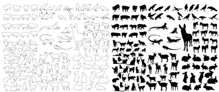 vector, isolated set of animal silhouettes, rabbits, donkeys, jaguars, crows, cat