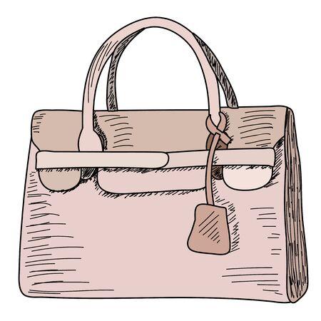 fashionable women bag, sketch with lines Ilustración de vector