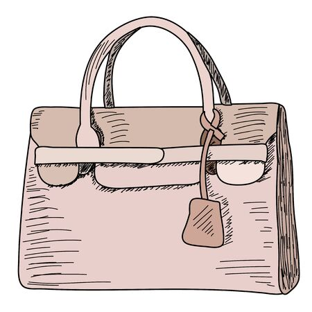 fashionable women bag, sketch with lines