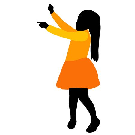 white background, silhouette in colored clothes child rejoices Illustration