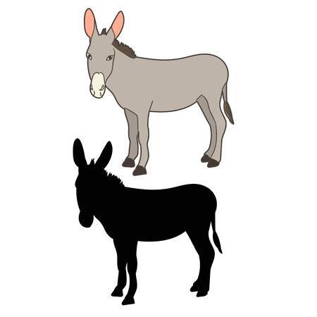 donkey standing in front of a white background Ilustración de vector