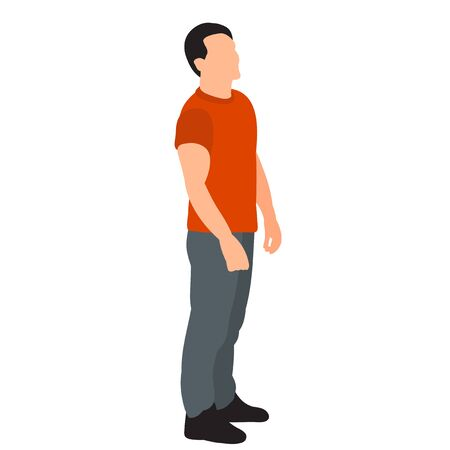 vector, on a white background, a man stands in a flat style, without a face