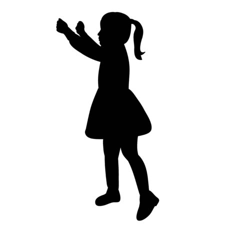 black silhouette little girl illustration on white background
