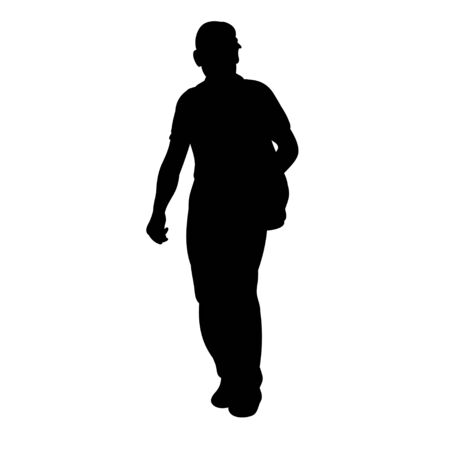 isolated silhouette man is walking, on a white background, alone 向量圖像