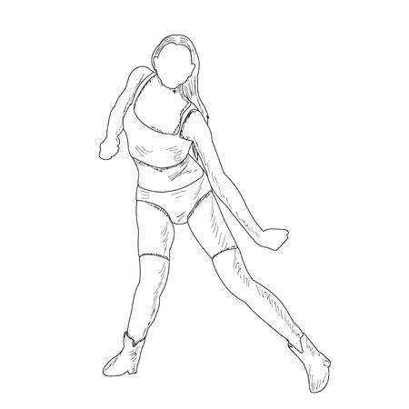 freehand sketch of a girl dancing