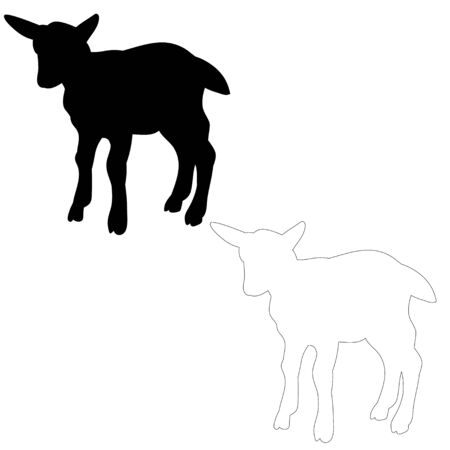vector, isolated silhouette of goats on white background