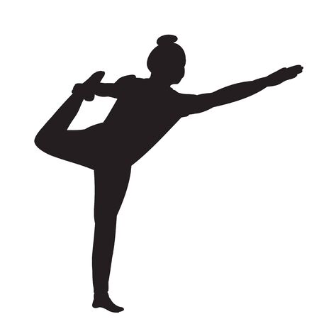 vector, on a white background, silhouette of a girl engaged in yoga Illusztráció