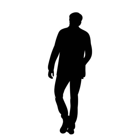 isolated silhouette man walking, alone