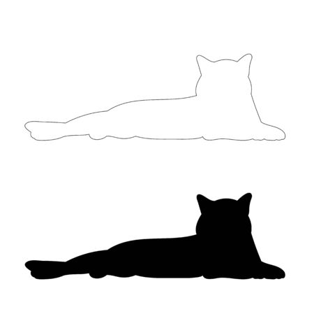 silhouette cat laying Illusztráció