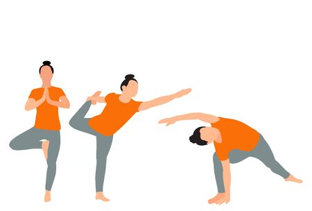 yoga girl collection on white background