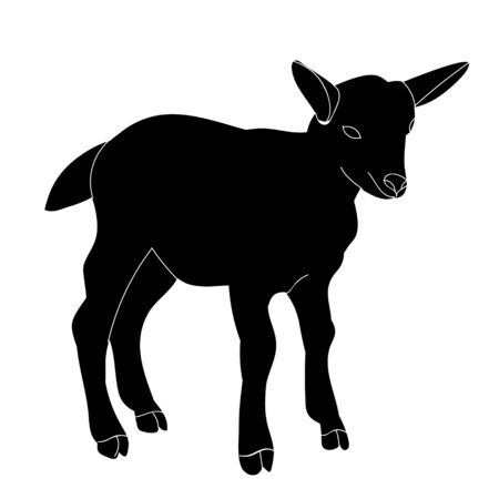 isolated silhouette of goats on white background 版權商用圖片 - 150143196