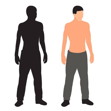 man stands in a flat style, without a face, silhouette
