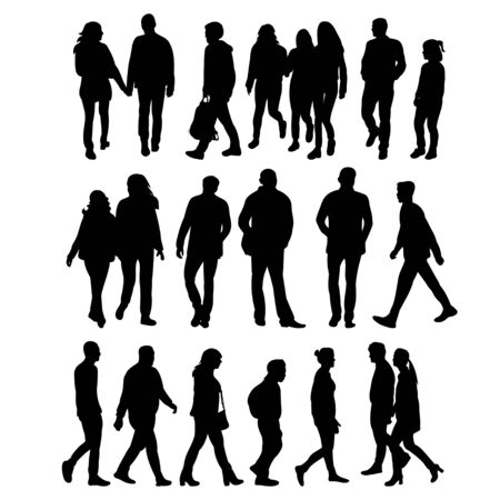 isolated silhouettes of going people