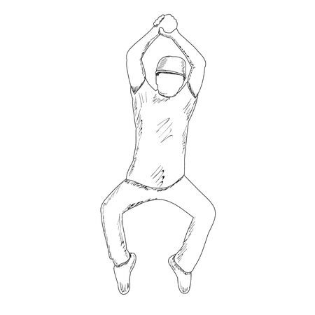 white background, freehand sketch of a man dancing