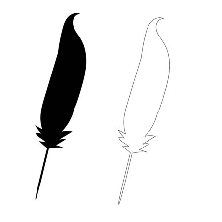 black  bird feather, outline