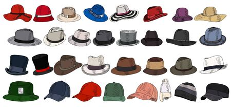 vector on a white background set of men's and women's hats