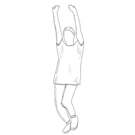 vector, on a white background, sketch girl rejoices