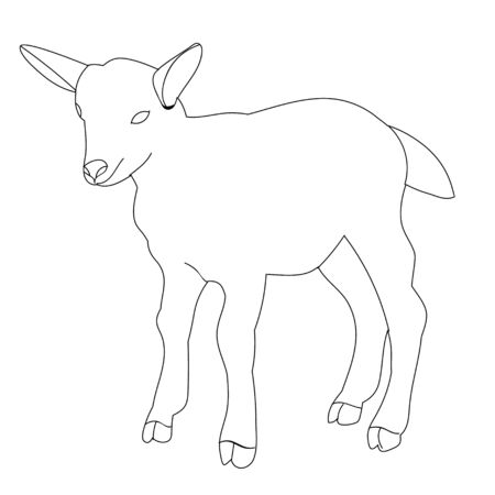 isolated sketch of goats 向量圖像