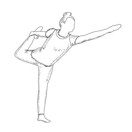 vector, on a white background, sketch of a girl doing yoga