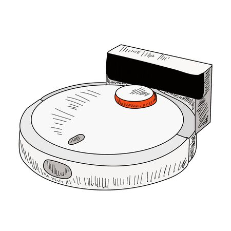 vector, on a white background, robot vacuum cleaner, sketch with lines
