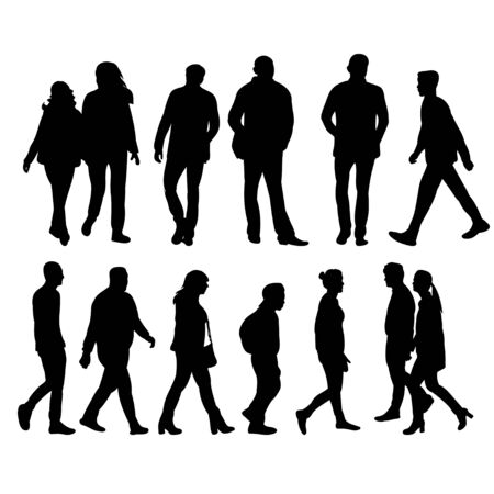 silhouettes of going people
