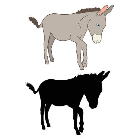 isolated, silhouette of a donkey standing in front of a white background