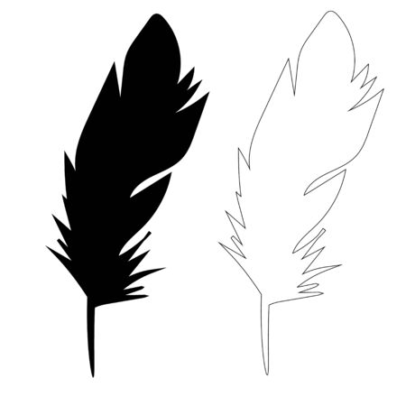 bird feather, outline vector Vettoriali