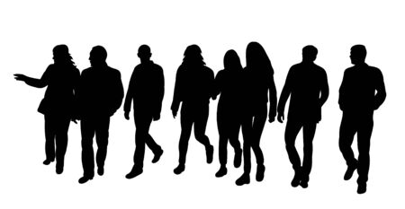 isolated silhouette of walking people group on white background Vetores