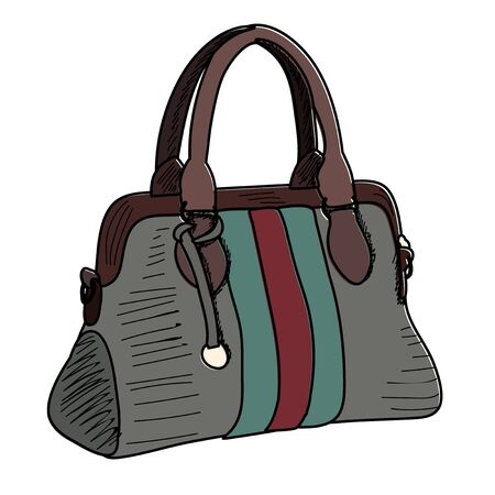 vector, on a white background, fashionable women bag, sketch with lines 向量圖像