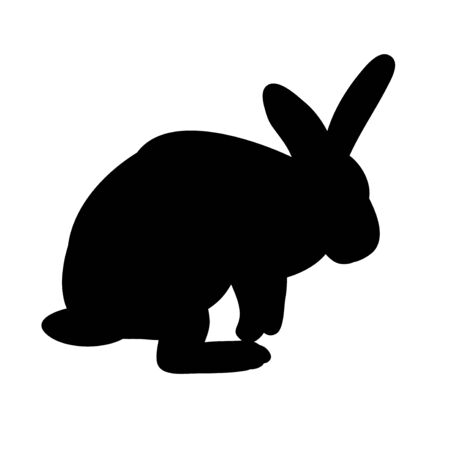 vector, isolated silhouette of a rabbit