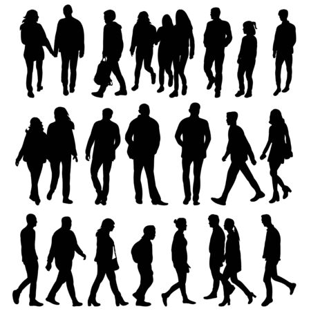 vector, isolated collection of silhouettes of walking people 向量圖像