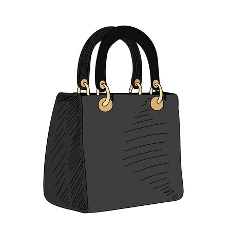 vector, on a white background, fashionable women bag, sketch with lines Vettoriali