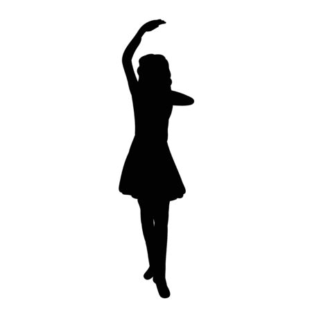 black silhouette of a girl dancing on a white background, vector Vectores