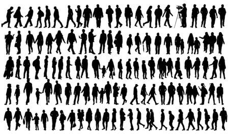 silhouette people go set